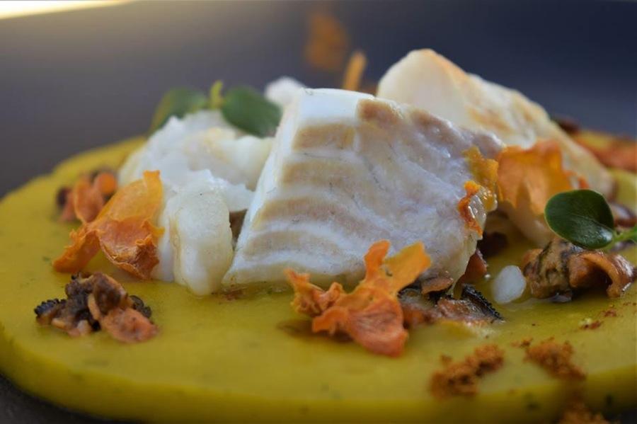 Locanda Mariella Filetto di rombo chiodato, Crema di Zucca e patate, cozze impepate e soia affumica