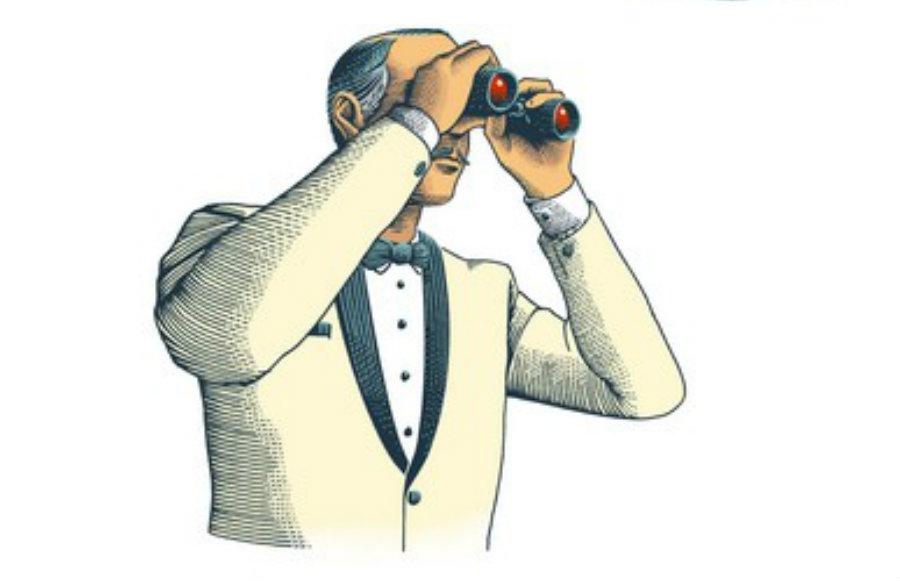 Cameriere con il binocolo. Disegno di Marcello Crescenzi