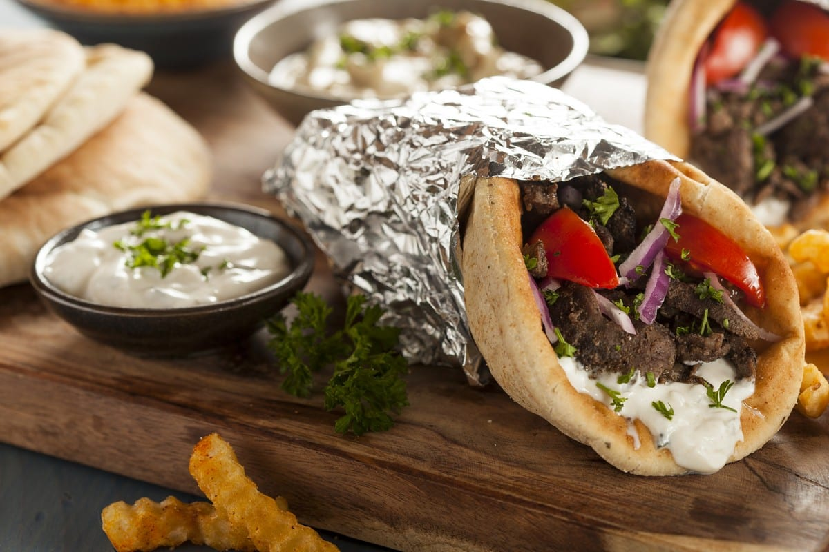 Cucina greca - Homemade Meat Gyro with French Fries