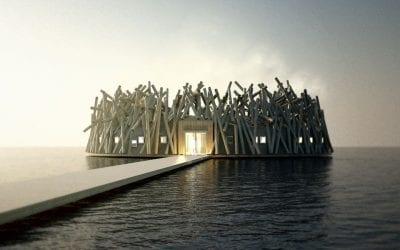La struttura galleggiante dell'Arctic Bath Hotel