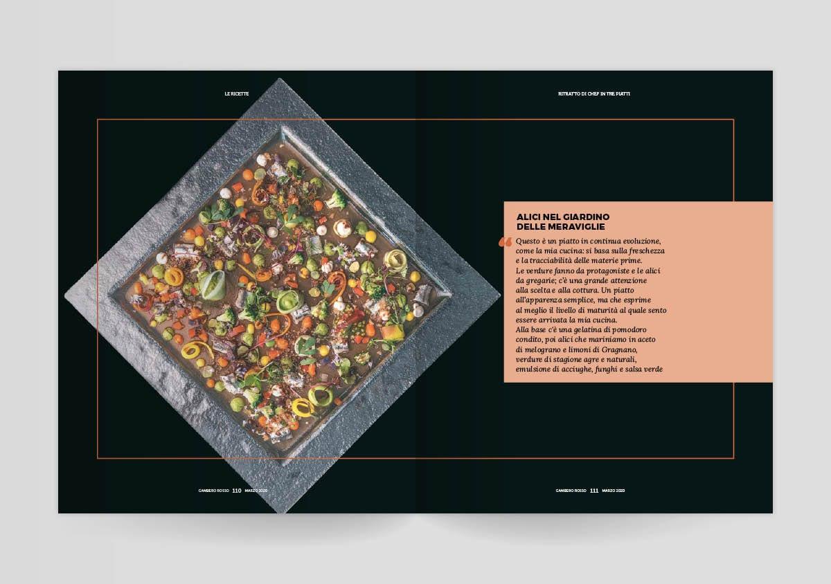 Un piatto di Philippe Leveillé sul mensile di Gambero Rosso