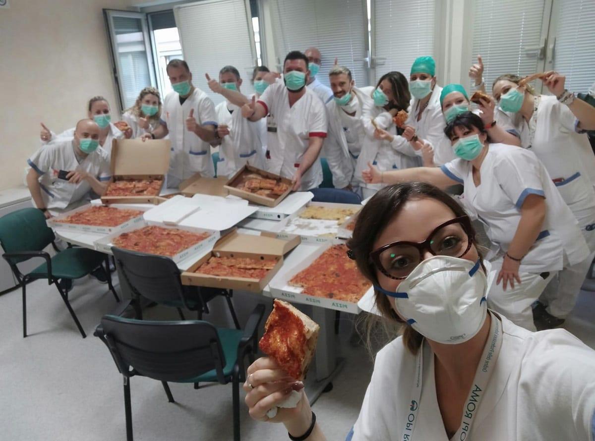 Francesco Arnesano e le sue pizze per i medici del Policlinico Tor Vergata