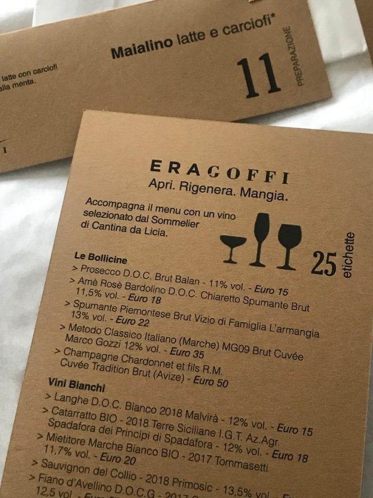 La carta dei vini delivery di EraGoffi