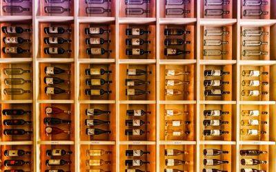Bottiglie di vino su uno scaffale