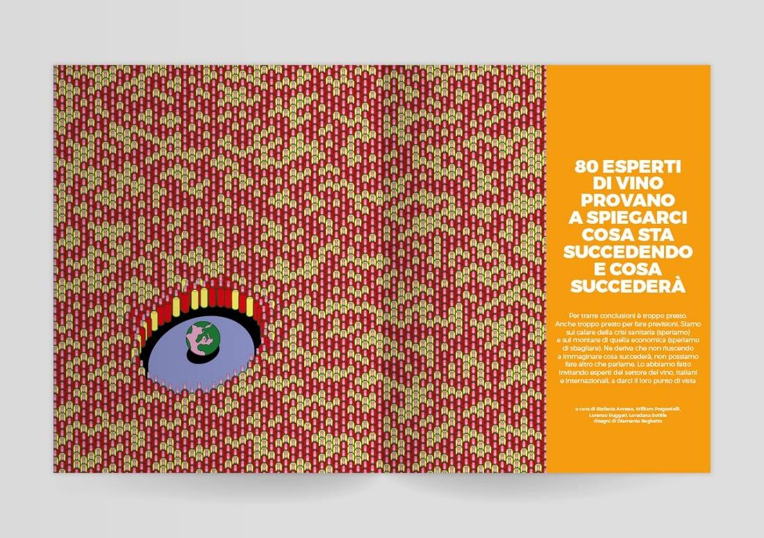 Illustrazione sul vino tra le pagine di Gambero Rosso