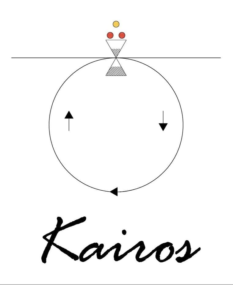 Il logo di Kairos alla Gelateria del Pigneto
