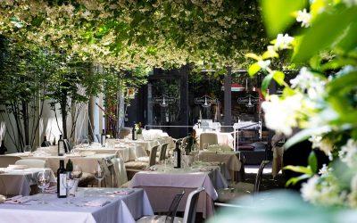 Il giardino del ristorante Al Carroponte di Bergamo