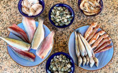 Pesce già sfilettato, crostacei e mitili
