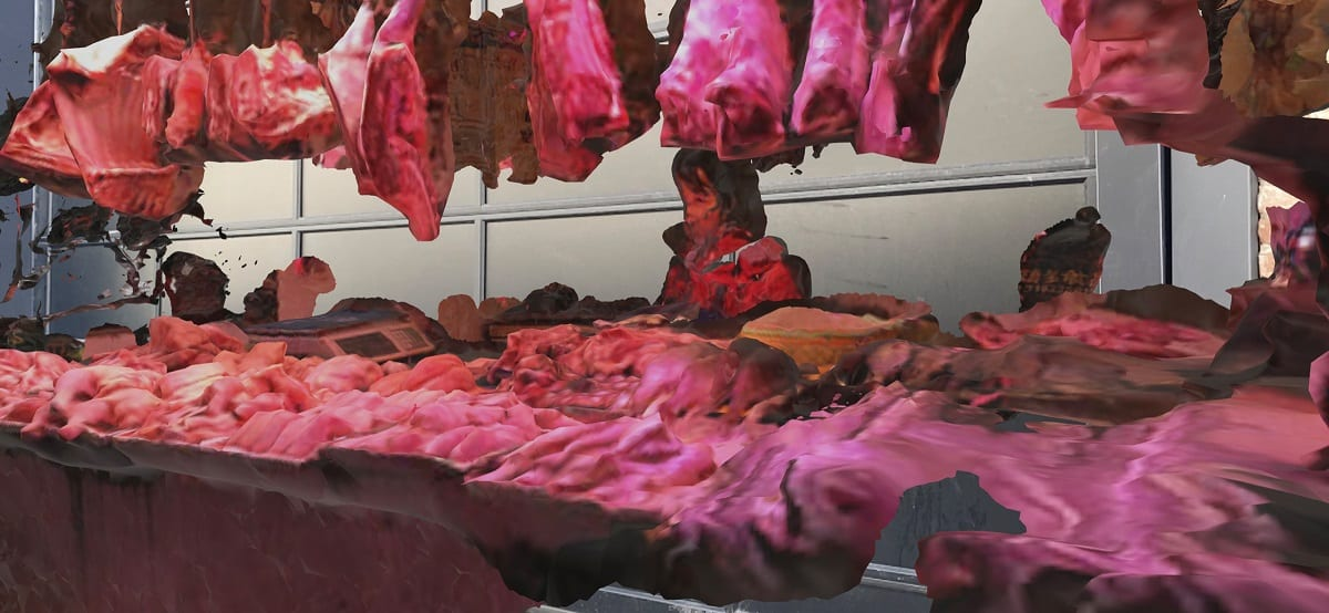 Banco della carne al mercato di Wuhan