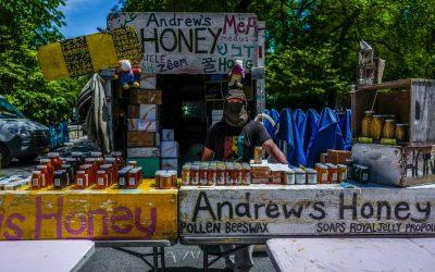 il banco di Andrew Cotè al Greenmarket