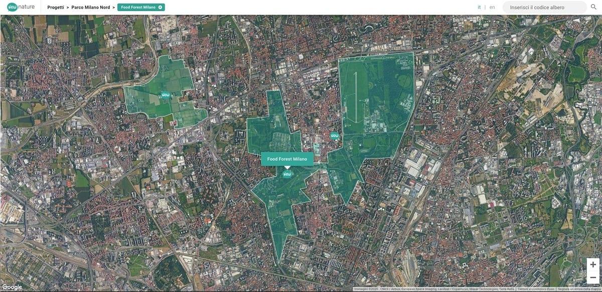 La mappa della food forest di Milano