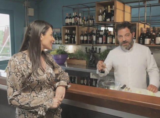 Eleonora De Venuti e chef Davide Mazza sul set di Ok il vino è giusto