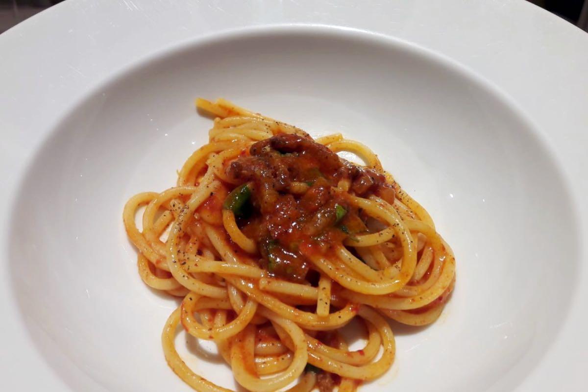 Come si mangia ad Alba al Piazza Duomo di Enrico Crippa. Spaghetti amatriciana