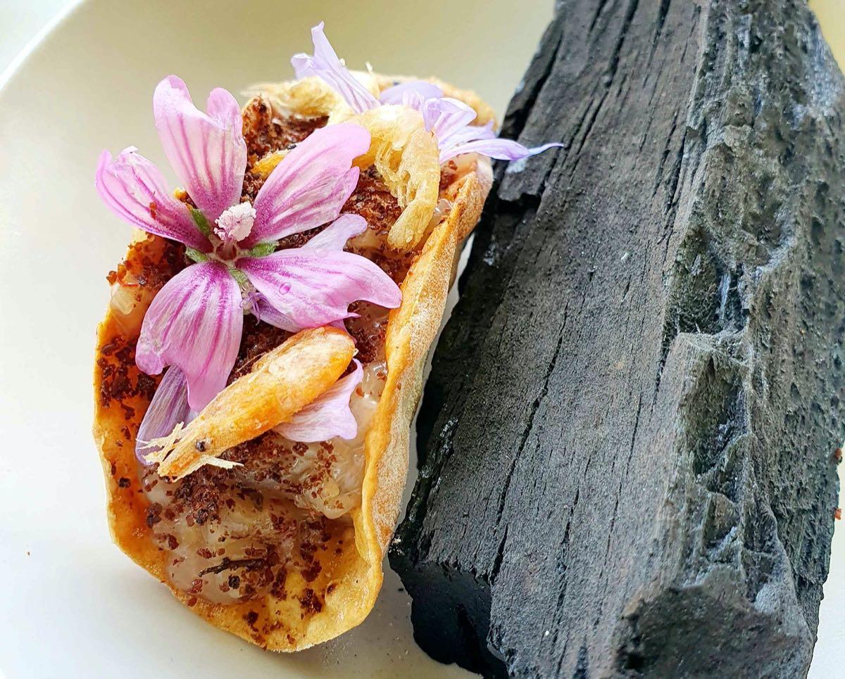 Scopri il menu di Venissa a Mazzorbo: Taco di ceci, summac, gamberetti di laguna, mazzancolle e ravanelli fermentati