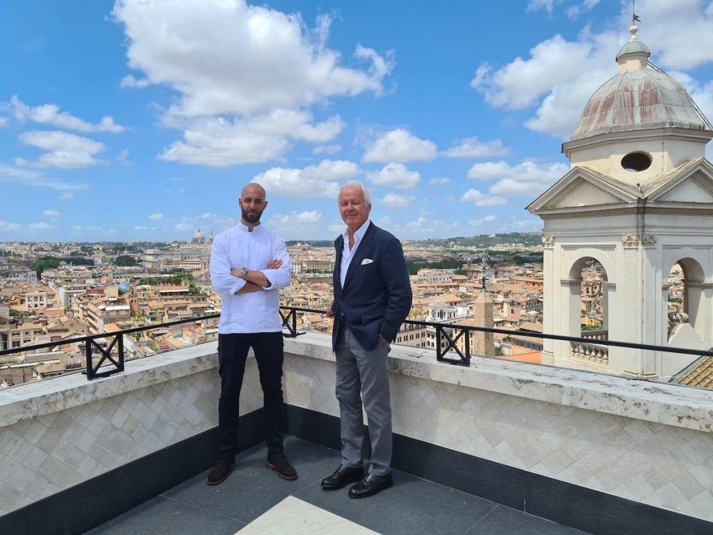 Andrea Antonini e Roberto Wirth sulla terrazza dell'hassler