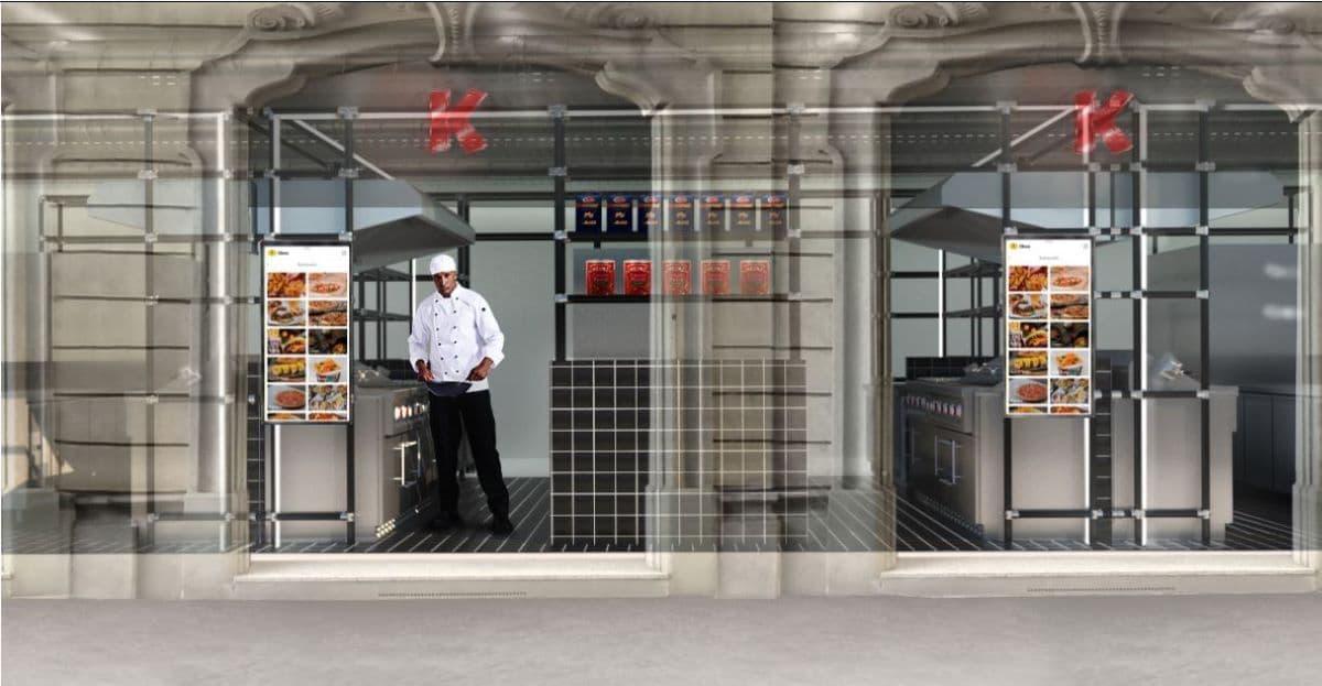 La cloud kitchen con vetrina visibile dall'esterno