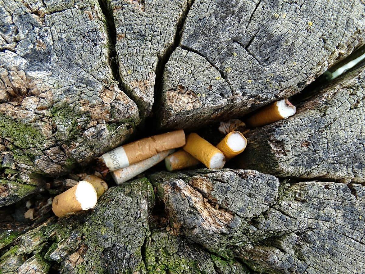 Mozziconi di sigaretta che inquinano l'ambiente