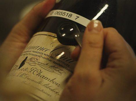 Esame di una bottiglia di vino falsificata