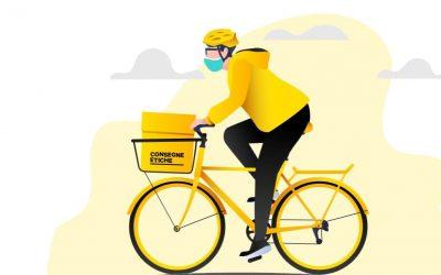 Il logo di Consegne Etiche: un rider su bici gialla