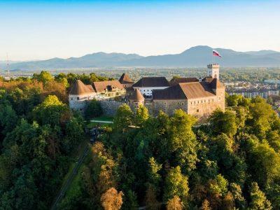 Lubiana - scorcio del castello sulla collina
