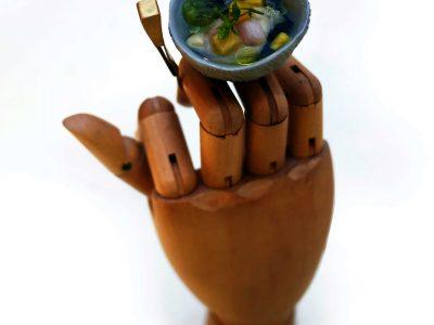 Il leccadito (ostrica, mango, mini kiwi e yuzu) di Fabrizio Mantovani