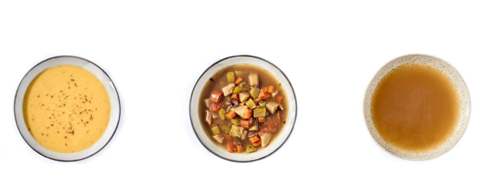 Tre piatti di zuppa