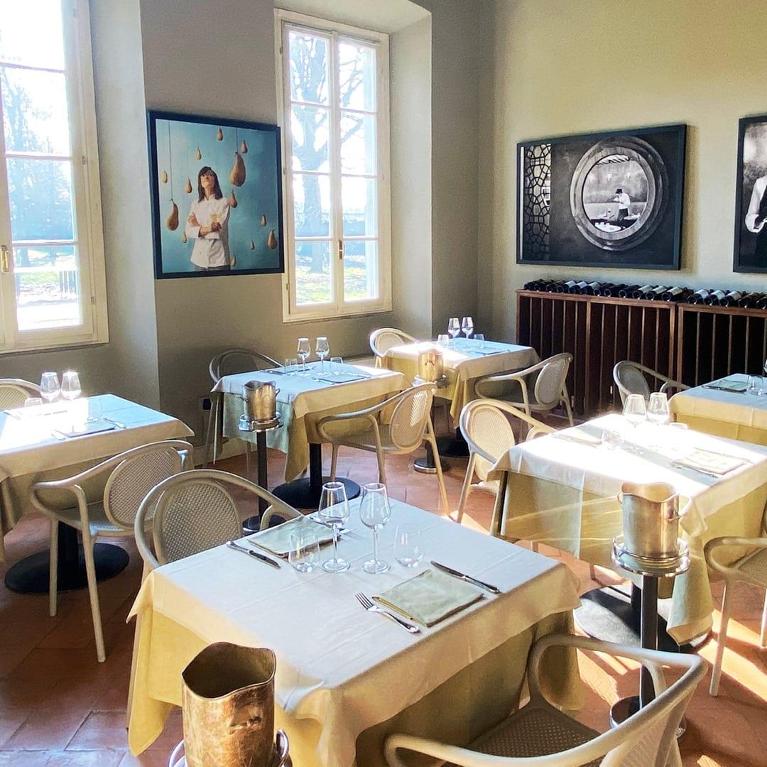 La sala del ristorante di Villa Terzaghi
