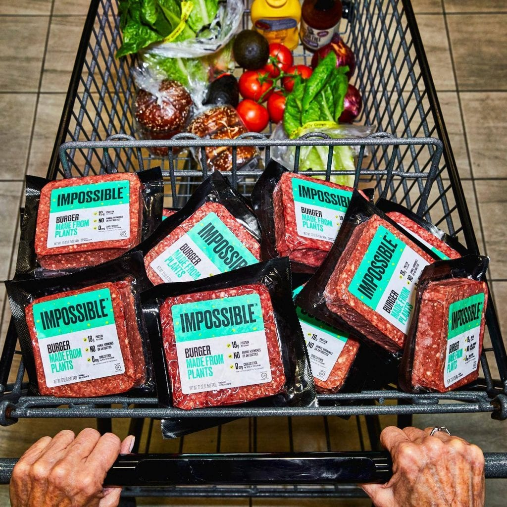 Carne vegetale di Impossible Foods nel carrello