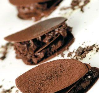 Mousse al tartufo e foglie di cioccolato