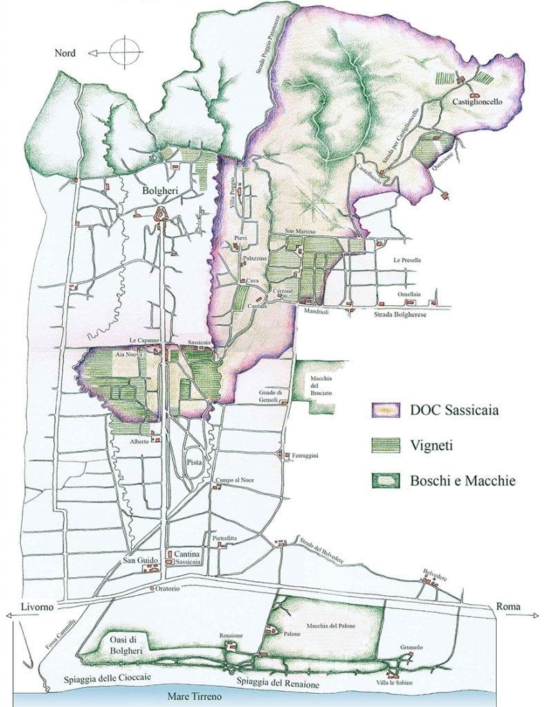 cartina della zona del Sassicaia