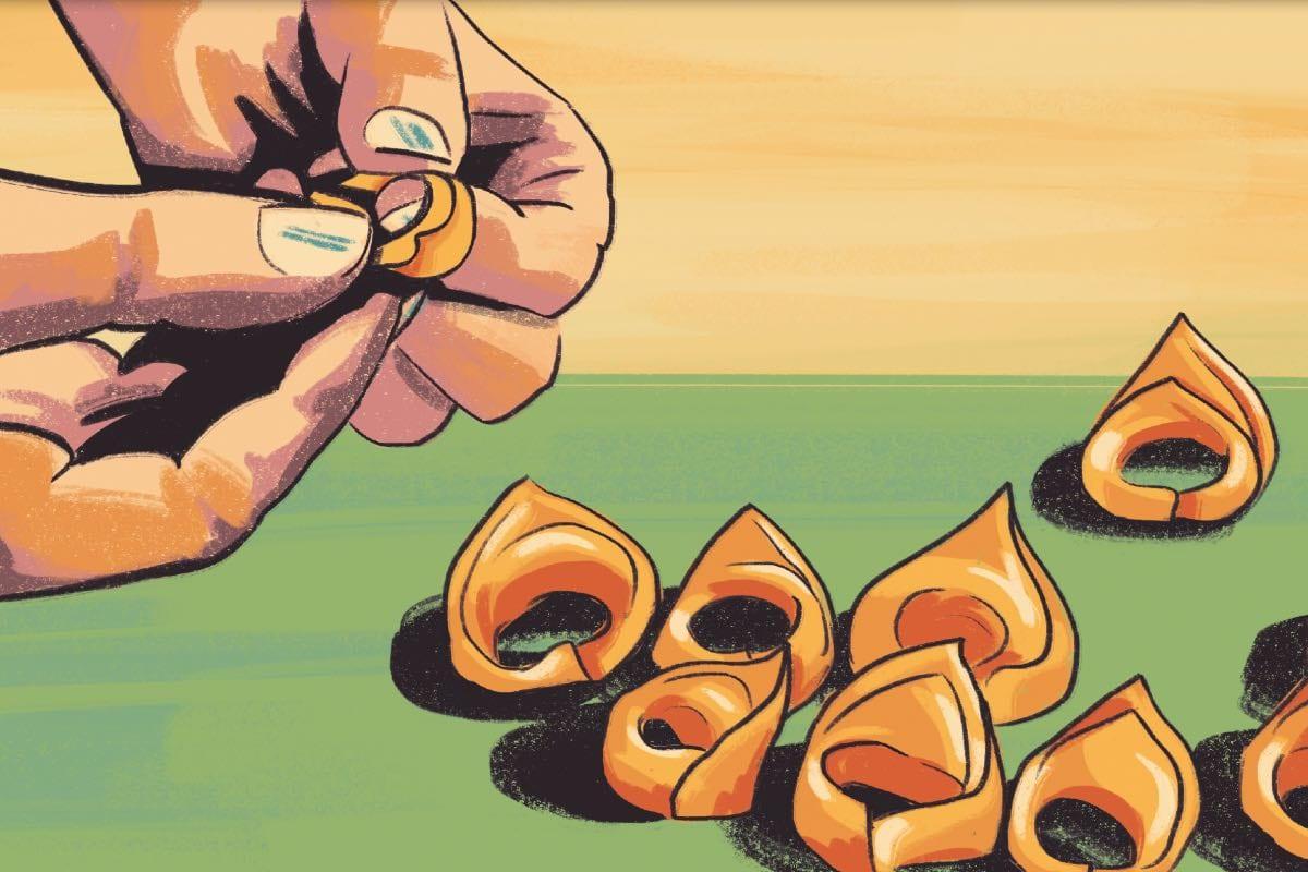 Mani che chiudono dei tortellini Disegno di Daniela Bracco