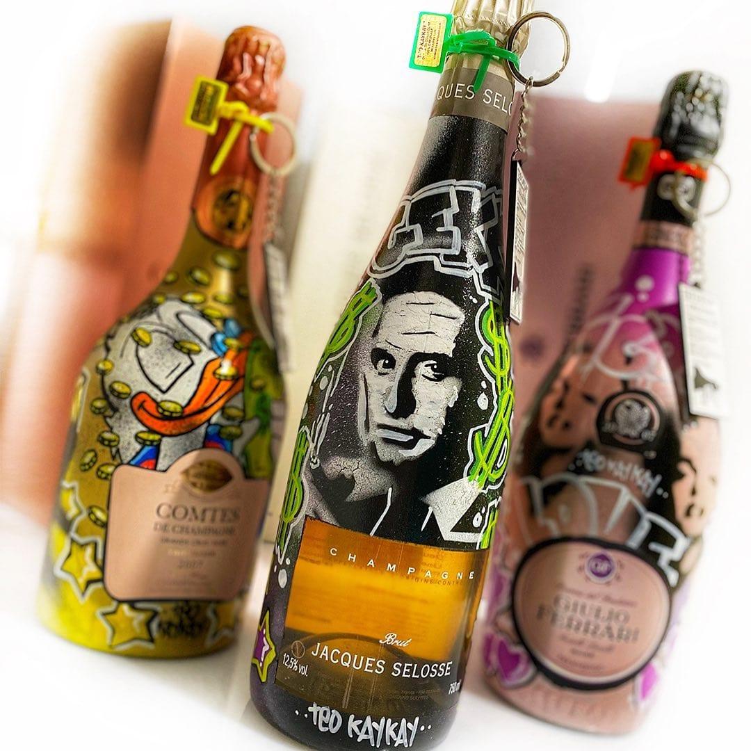 Le bottiglie customizzate di champagne di Teo KayKay