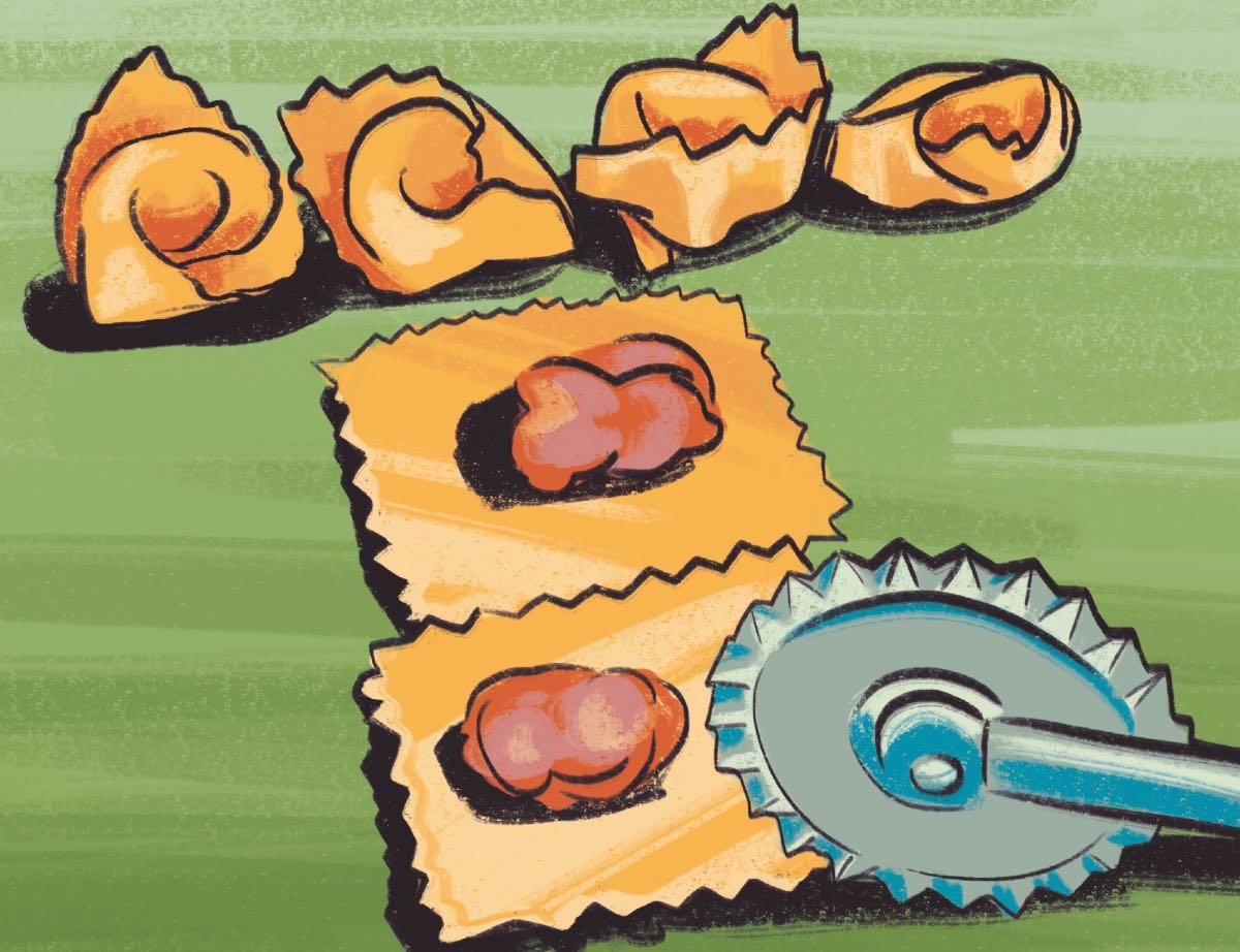 Taglio dei tortellini. Disegno di Daniela Bracco