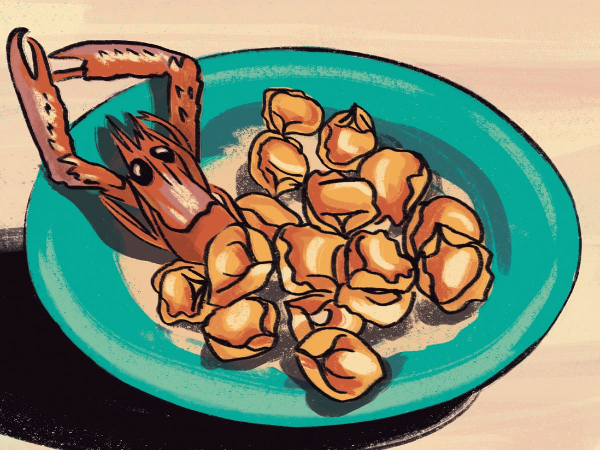 Tortellini e scampi. Disegno di Daniela Bracco