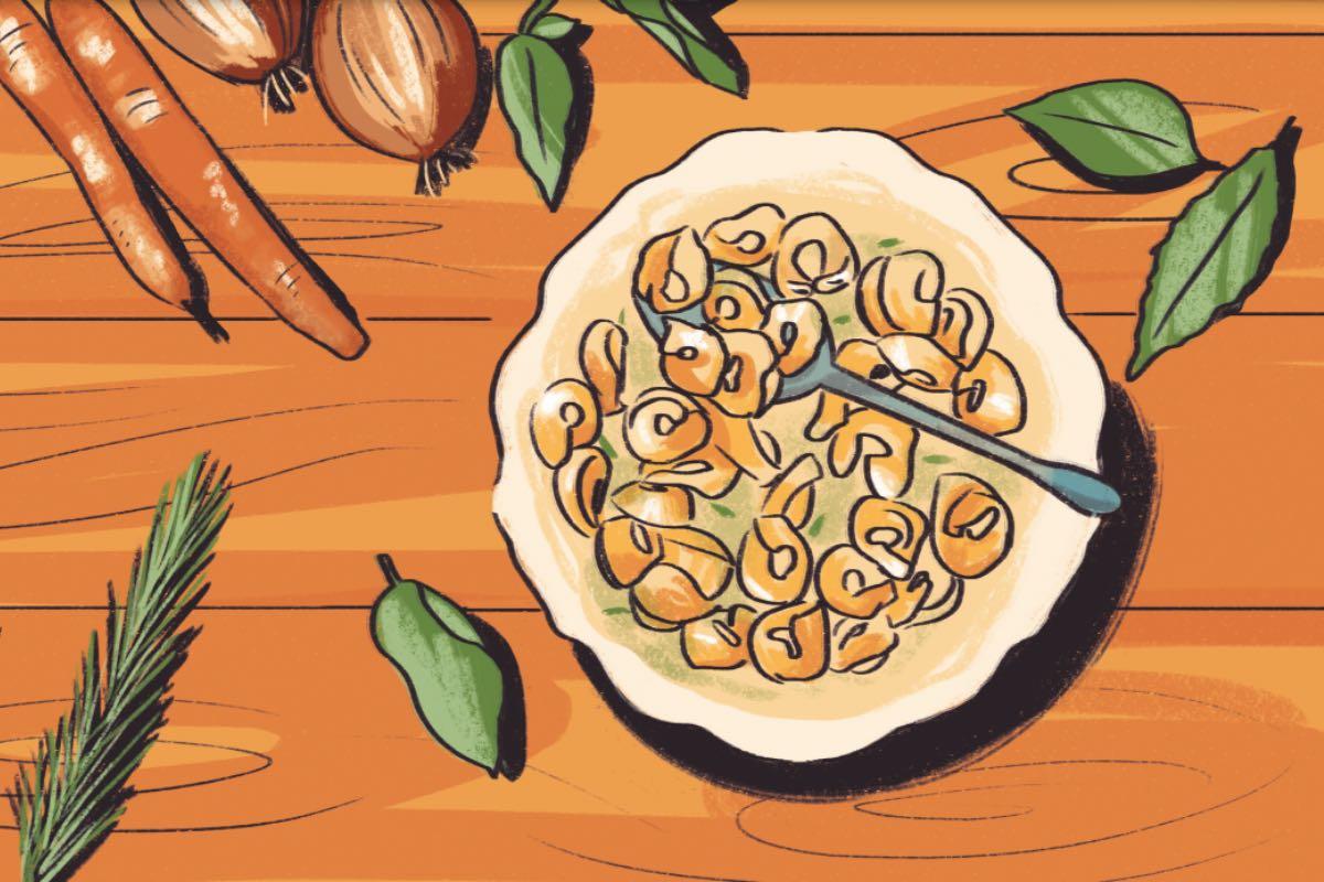 Tortellini in brodo. Disegno di Daniela Bracco