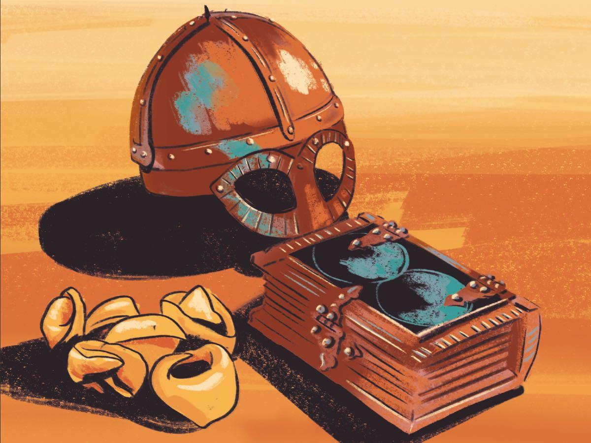 Tortellini, libro ed elmo. Disegno di Daniela Bracco