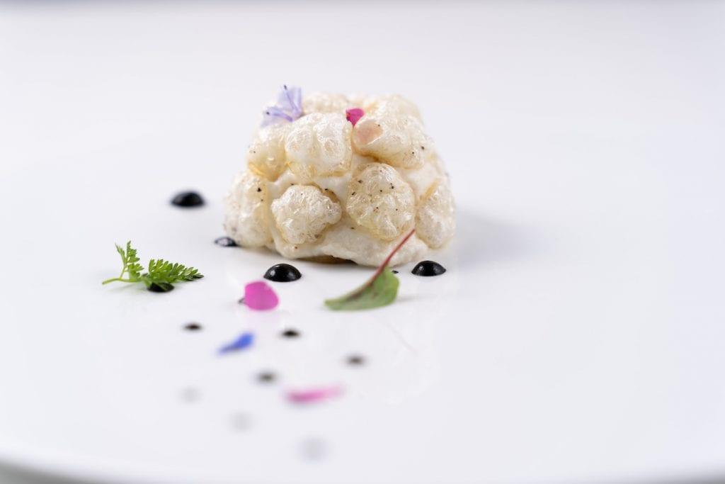 Baccalà mantecato con popcorn di cotica Corrado Parisi - Du Matt