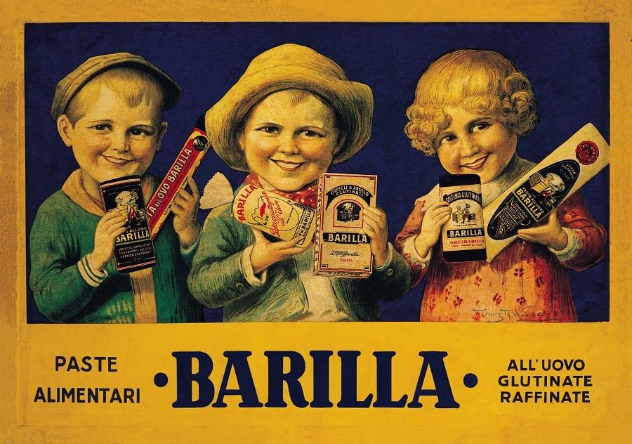 Una pubblicità della pasta Barilla con tre bimbi che promuovono la pastina glutinata