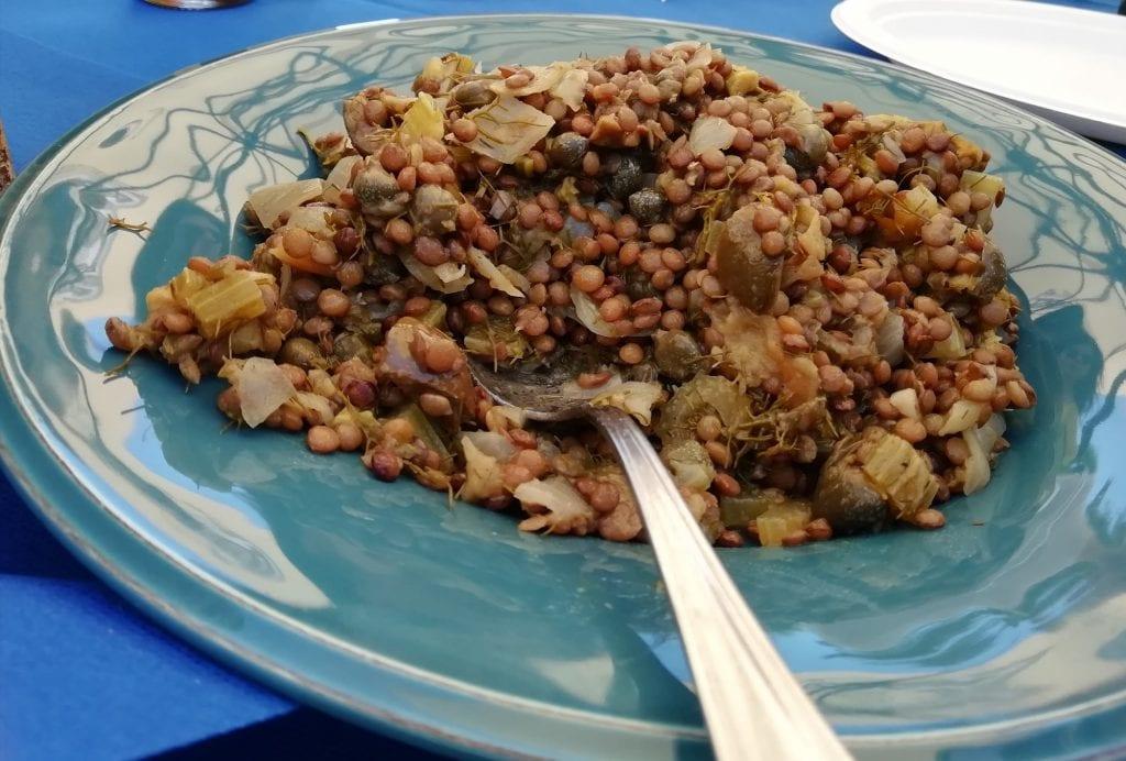 Caponata di lenticchie del kiko's bar di ustica