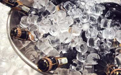 cestello di ghiaccio e vini spumanti