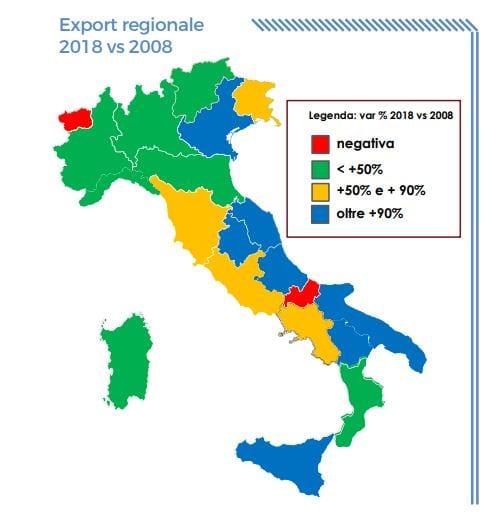 grafico con export regionale di vini marittimi e non