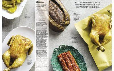 due pagine di una rivista sul cibo con ricetta del pollo