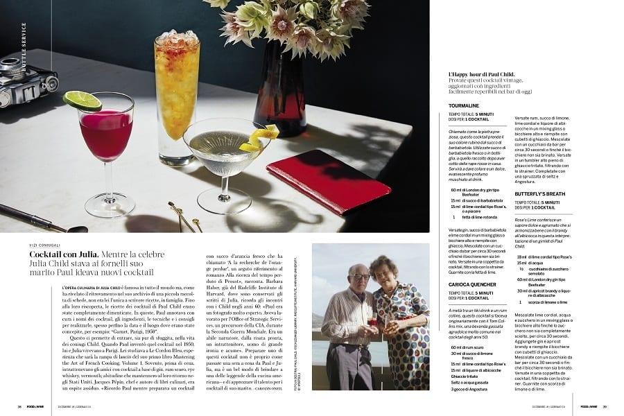 due pagine di una rivista sui cocktail
