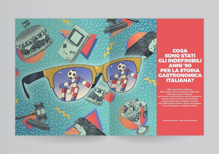 Due pagine della rivista Gambero Rosso con i simboli degli anni Novanta