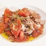 136 Insalata di baccala crudo pomodorini spellati erba cipollina acciughe olive e aceto balsamico