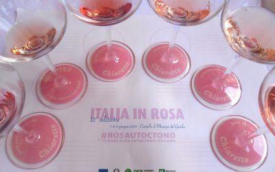 La tovaglietta di assaggio con i bicchieri di rosato di Italia in Rosa 2019
