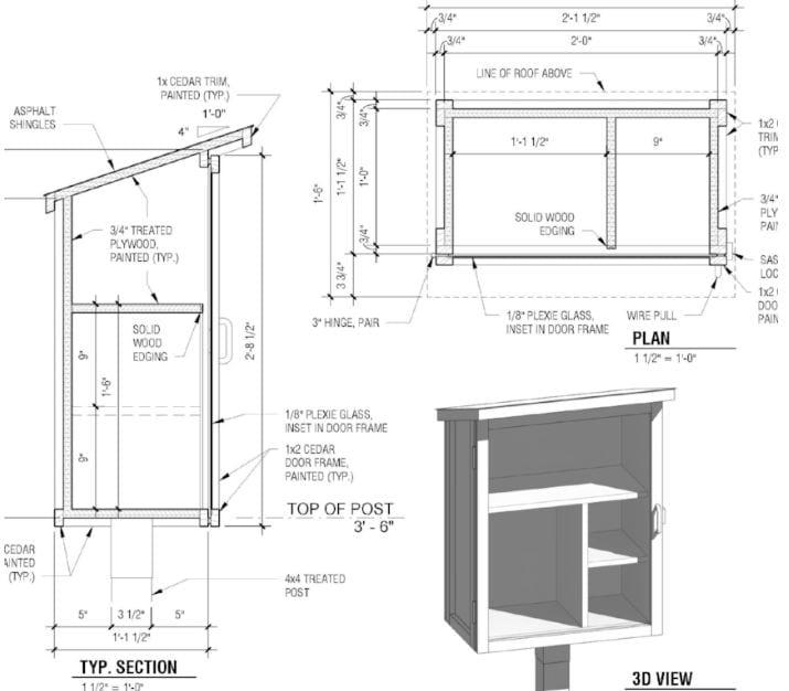 Il progetto disegnato per costruire una Little Free Pantry