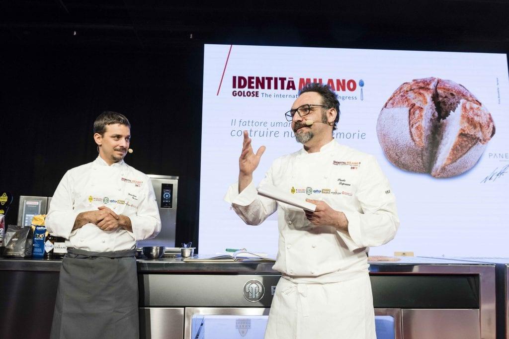 Paolo Lopriore e Gianluca Gorini sul palco di Identità golose 2019 foto bramilla Serrani