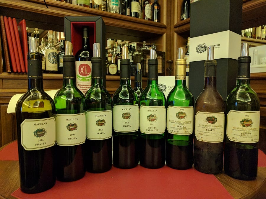 Bottiglie di Fratta in dgustazione