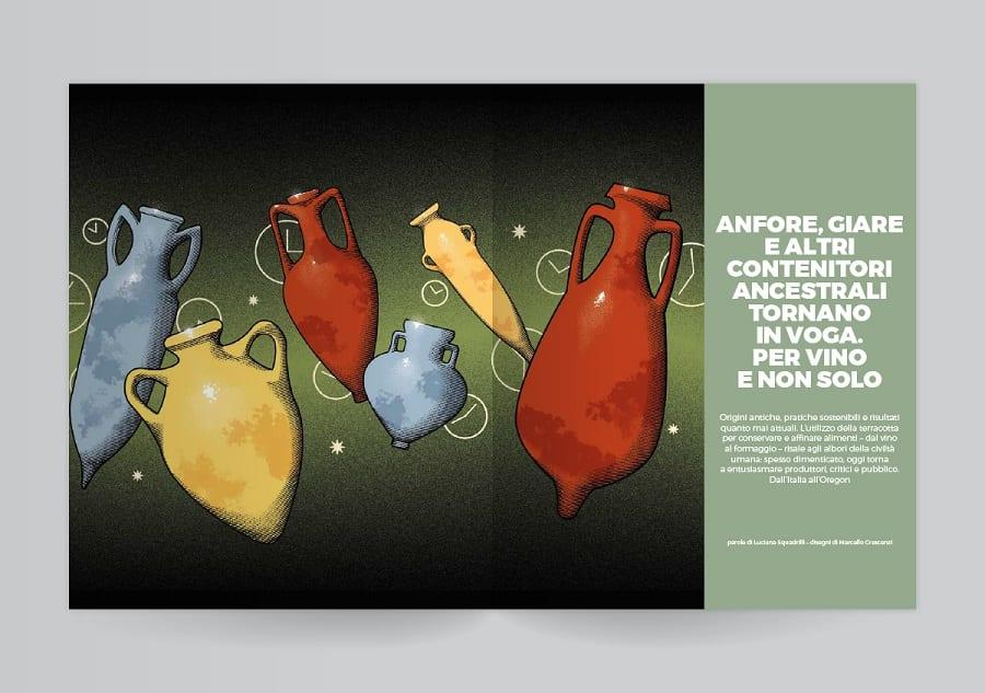 Due pagine del mensile del Gambero Rosso, con anfore disegnate su fondo verde